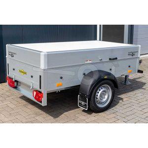 Humbaur aluminium  bagagewagen (lxbxh) 205x110x48cm, type  Startrailer H 752010 met deksel, Bruto 750kg (570kg netto), Aluminium wanden, Enkelas ongeremd, Banden 145/80R13