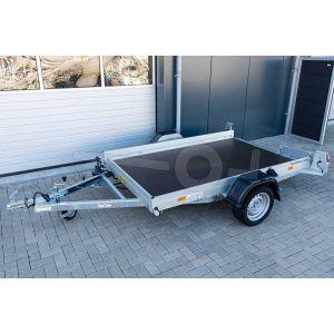 Humbaur transporter voor kleine voertuigen HKT 132515 S, Lxb 250x156cm, Bruto 1350kg (1018kg netto), Elektrisch hydraulisch zakbaar, Lvh 42cm, Borden 15cm, Oprijhoek 6°, Enkelas geremd, Banden 195/50R13