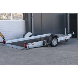 Humbaur hydraulisch zakbare transporter HKT 132817 S, 280x176cm, bruto laadvermogen 1350kg, met elektrische bediening op de dissel