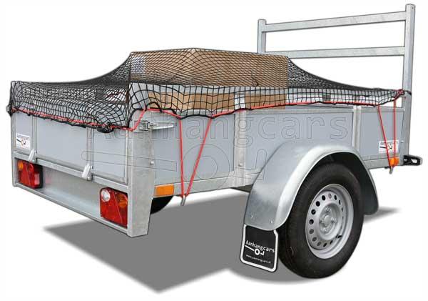 Enkelas aanhangwagen met aanhangwagennet over de laadbak