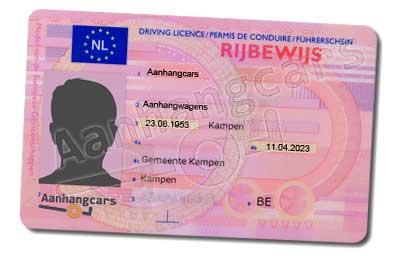 Aanhangwagen rijbewijs specimen
