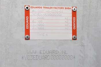 Voorbeeld typeplaatje en chassisnummer op een Eduard aanhangwagen