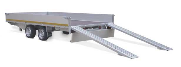 Eduard multitransporter met aluminium laadborden, kabellier en oprijplaten