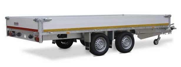 Tandemas plateauwagen met aluminium borden van Eduard Trailers