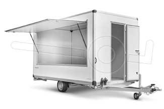 Verkoopwagen met verkoopklep, toonbank en tassenplank