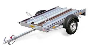 Humbaur motortrailer voor twee motoren