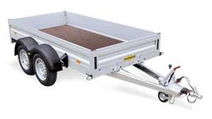 Tandemas open aanhangwagen met aluminium borden