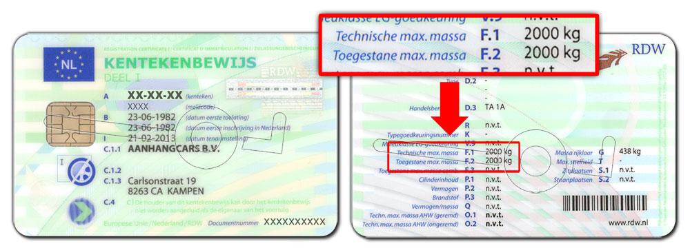 Voorbeeld technische en toegestane max massa op kentekenbewijs aanhanger