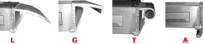 Leverbare aanslag profielen voor Metalmec aluminium oprijplaten