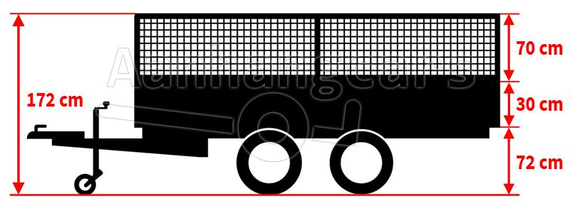 Grafische voorstelling van een plateauwagen met loofrekken