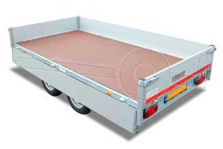 Plateauwagen met losgeklapt aluminium laadbord