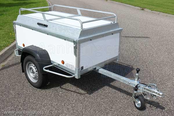 Powertrailer bagagewagen wit kunststof panelen met imperial