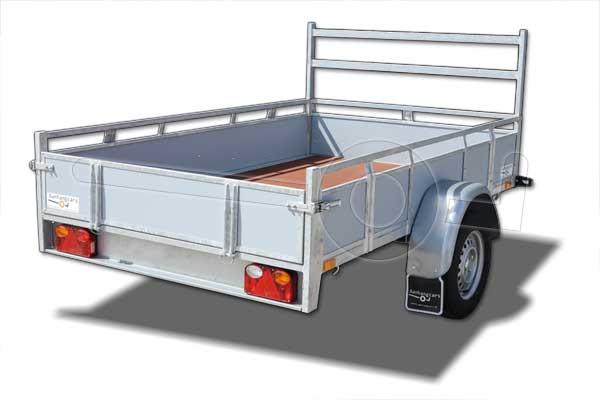 Twins Trailers open aanhangwagen met grijs betonplex panelen