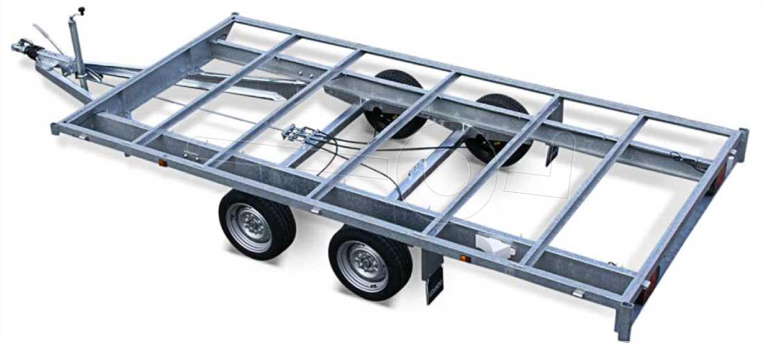 Chassis van een tandemas aanhangwagen
